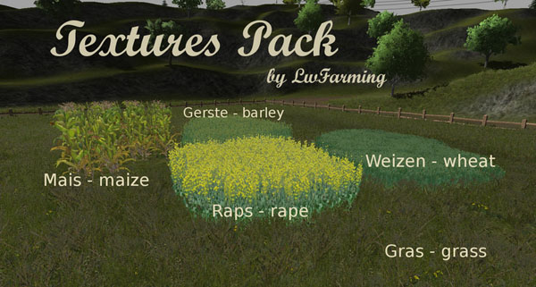 Textures Pack wheat barley maize rape grass